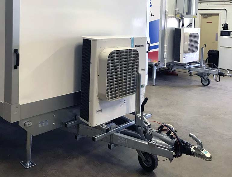 Refrigerated trailers in workshop