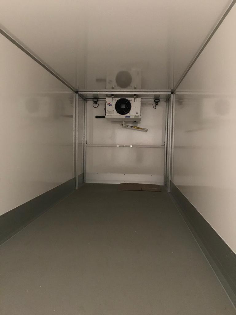 Inside a large trailer